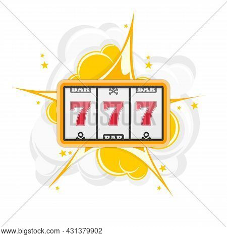 Slot Machine With Three Sevens Icon. Vector Illustration Of Lucky Sevens Jackpot. Win Gambling Casin