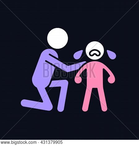 Comforting Crying Child Rgb Color Icon For Dark Theme. Cuddling And Softly Talking To Kid. Showing E