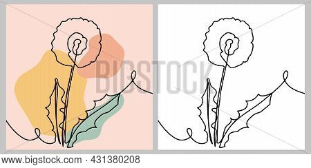 Dandelion Flower - One Continuous Line, Single Line Drawing Art, Organic Design, Abstract Line With
