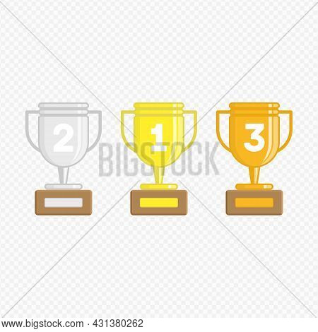 Winners Cup Set. Gold, Silver And Bronze Winners Cup In Flat Style. Collection Of Champions Cups Iso