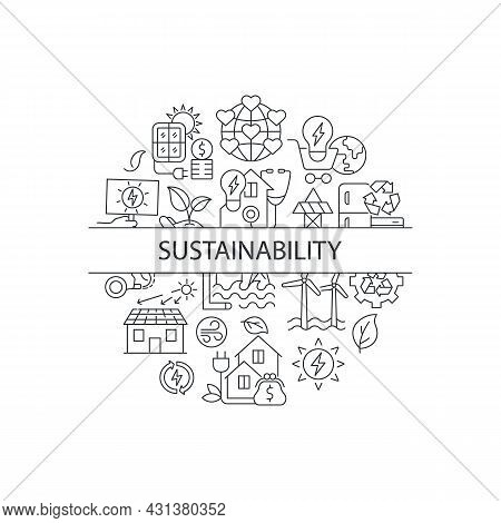 Sustainability Abstract Linear Concept Layout With Headline. Power Generation Source. Sustainability