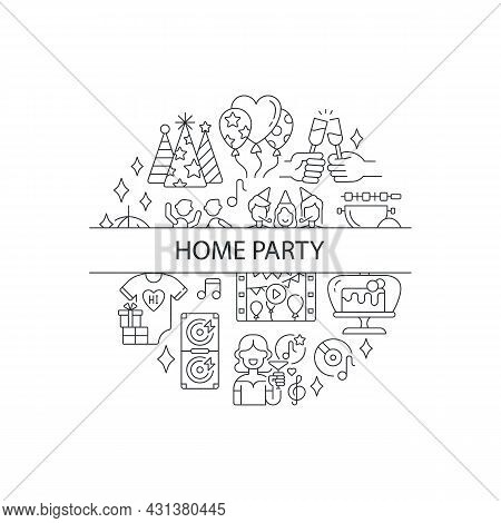 Party Abstract Linear Concept Layout With Headline. Congratulating With Presents. Entertainment Mini