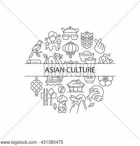 Asian Culture Abstract Linear Concept Layout With Headline. Eastern Traditions. Japan Cultural Symbo