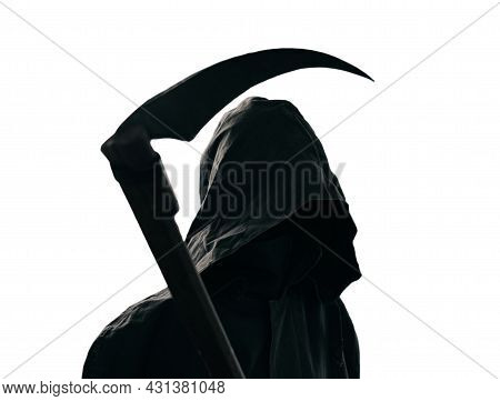 Grim Reaper In A Black Cloak With A Scythe, On A White Background.