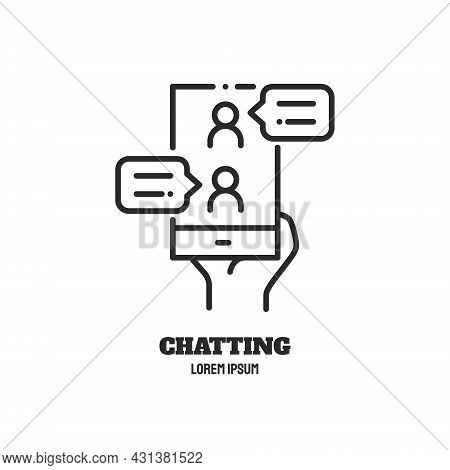 Chatting Line Icon. Phone And Messages From People. Logo Concept. Video Conference And Online Meetin