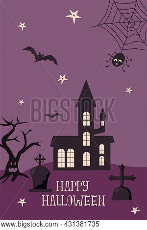 Happy Halloween Greeting Card Template With Dark Castle, Cemetery, Scary Tree, Spider And Bats.l Mod
