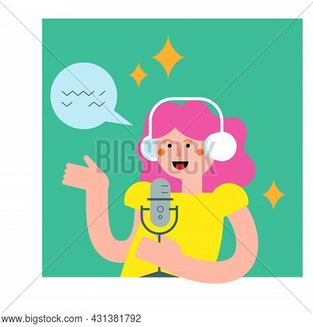 Podcast Host With Mic And Headset Flat Vector Illustration. Female Podcaster Holding Microphone With