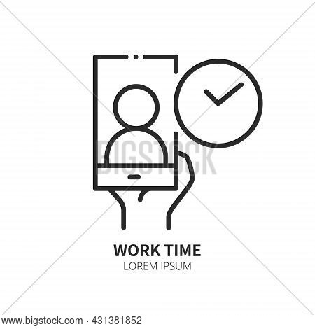 Phone In Human Hand With Human On Screen And Clock. Logo Concept. Video Conference And Online Meetin