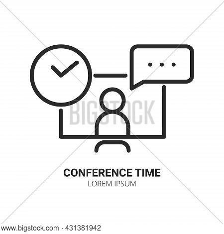 Work From Home Concept. Computer With Human And Clock Chatting. Video Conference And Online Meeting