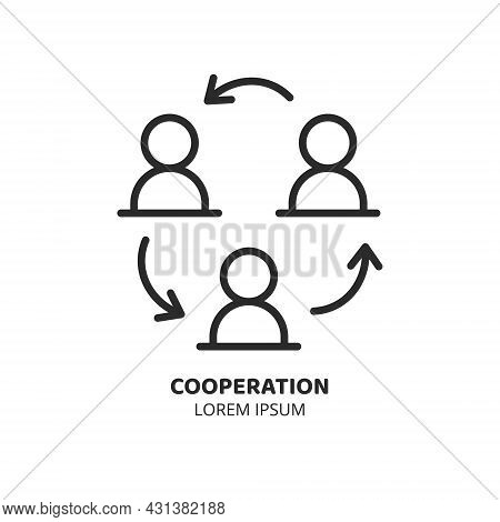 Cooperation And Delegation Concept Online Line Icon. Logo Concept. Video Conference And Online Meeti