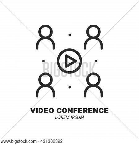 People And Play Button Icon Isolated. Logo Concept. Video Conference And Online Meeting Concept. Dis