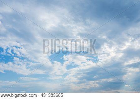 Blue Sky White Cloud Scene.beautiful Sparse Clouds In The Blue Sky.white Clouds In Blue Sky.nice Blu