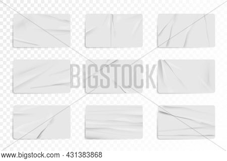 White Glued Crumpled Rectangle Sticker Mockup Set. Blank Paper Or Plastic Sticker Label Tag With Wri