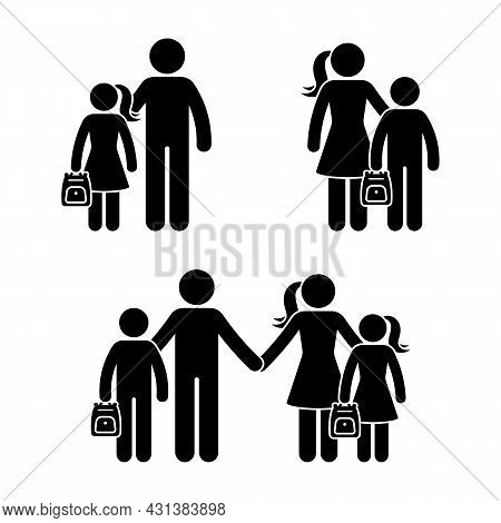 Stick Figure Family, School Boy And Girl Standing Together Vector Icon Illustration Set. Back To Sch