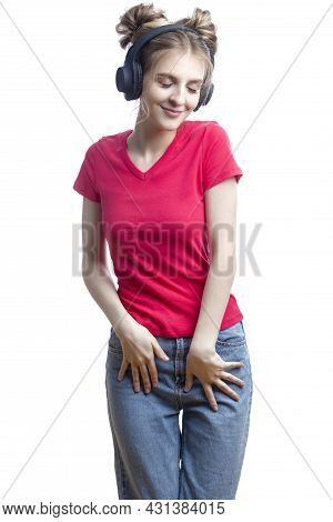 Excited Dancing Blond Girl In Casual Clothing Posing In Headphones In Various Dance Positions Over W