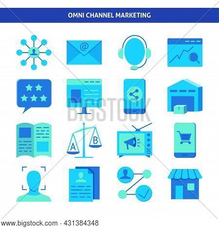 Omni Channel Marketing Icon Set In Flat Style