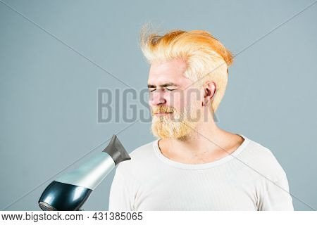 Blonde Funny Bearded Man Hair Dry. Hair Care Male Isolated.