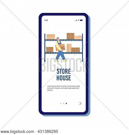 Storehouse Onboarding Screen With Storage Worker, Flat Vector Illustration.