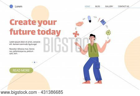 Template For Psychology Website With Text Create Your Future Today And Flat Illustration Of Male Cha