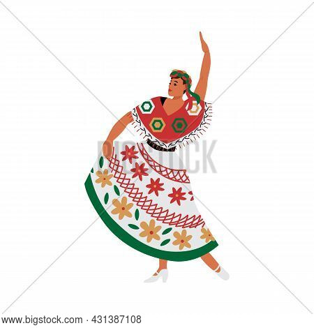 Dancing Mexican Woman In Latin-american Outfit, Flat Vector Illustration.