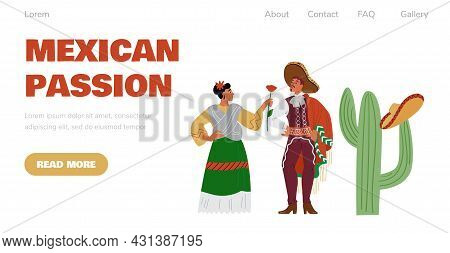 Mexican Culture And Music Website With Latin People, Flat Vector Illustration.