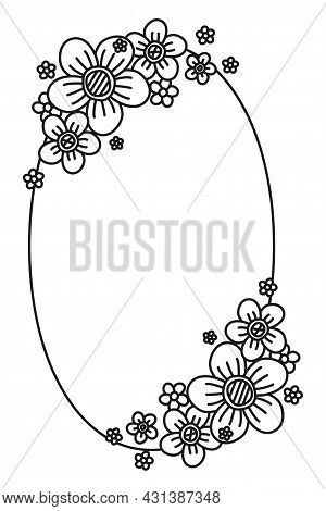 Black And White Oval Flower Frame With Copyspace