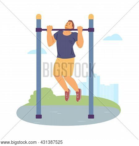 Man Performs Pull-ups On Horizontal Bar, Flat Vector Illustration Isolated.