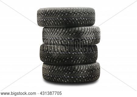 Winter Studded Tires Isolate Product Four Pieces Stack On A White Background