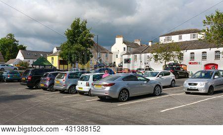 Gatehouse, Scotland - August 15th 2021: Car Park In Central Gatehouse Of Fleet, Scottish Town In Dum