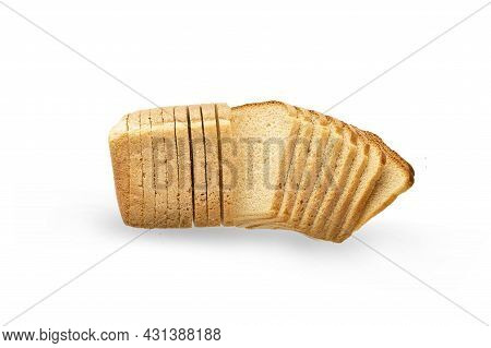 Single Loaf Of Sliced White Bread, Isolate On A White Background. Slices Of Bread With A Fan