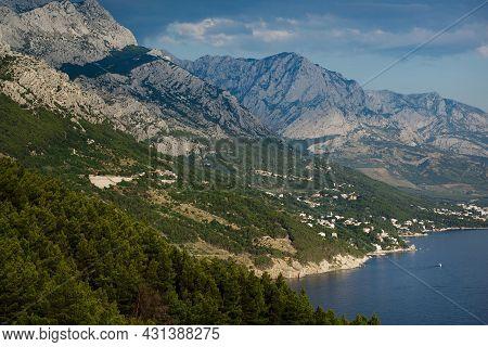 Croatian Mountains, Mountain Road Near The Adriatic Sea, Beautiful Landscape