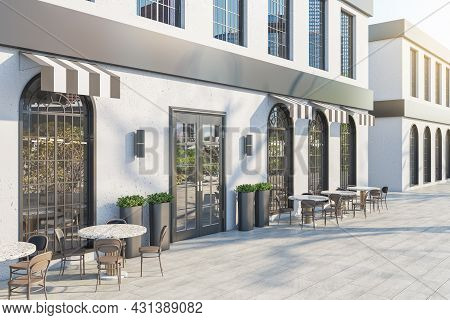 Contemporary Concrete Cafe Exterior With Terrace Furniture In Daylight. 3d Rendering