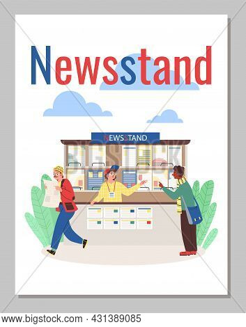 Newsstand Banner Or Poster Design With Cartoon People, Flat Vector Illustration.