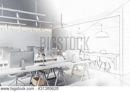 Creative Doodle Of Modern Office Interior With Equipment, Daylight And Furniture. Design And Repairs