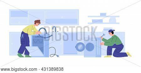 Workers Of Repair Service Repairing Washing Machine And Dishwasher At Kitchen.