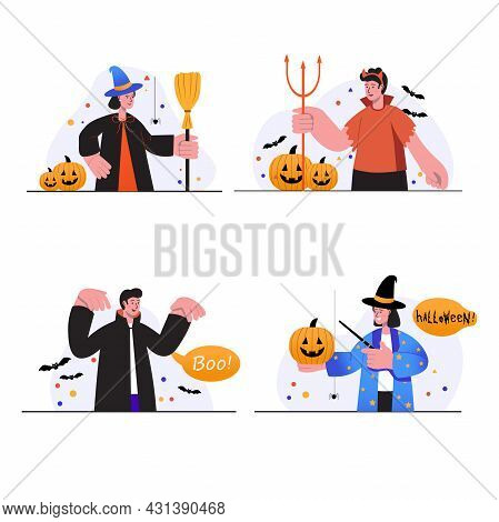 Halloween Concept Scenes Set. People In Spooky Costumes Cheerfully Celebrating Holiday, Having Fun A