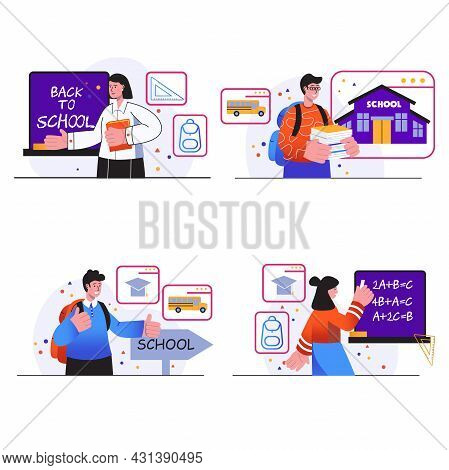 Back To School Concept Scenes Set. Teenage Boys And Girls Study In Classroom, Pupils With Books Do H