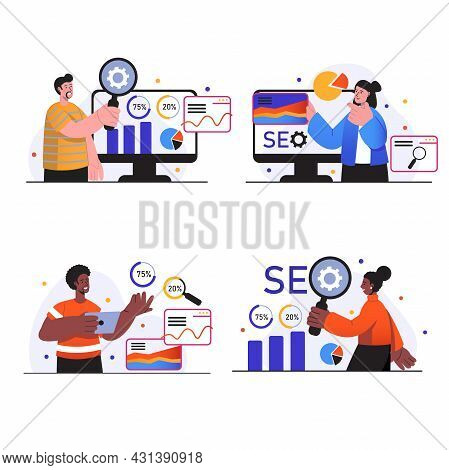 Seo Analysis Concept Scenes Set. People Research And Analyze Site Data, Optimize Search Results, Pro