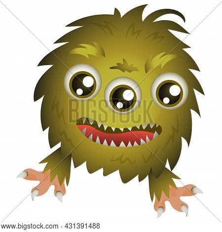Happy Cool Cartoon Fat Monster. Green And Shaggy, Three-eyed Monster In Vector On A White Background