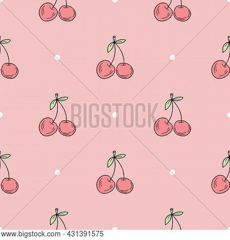 Seamless Pattern Of Hand Drawn Cherry. Minimalistic Seamless Pattern. Hand Drawn Cherry On Pink Back