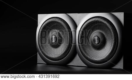 Two Single-sided Speakers On A Black Background. Horizontal Placement. Wooden Case. Hi-end Analog Ac