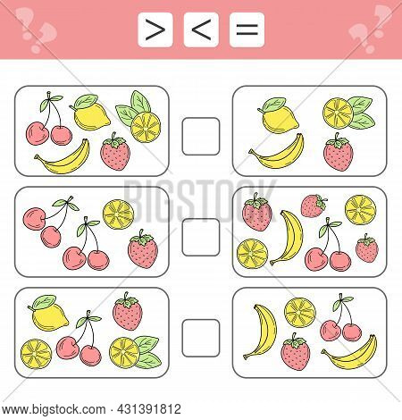 Less Than, Greater Than, Equal. Count As Many Fruits In The Picture, Write Down The Result. Banana,