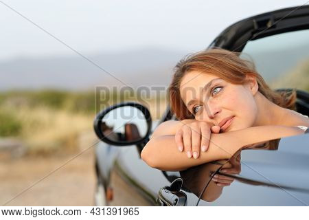 Convertible Car Owner Resting Contemplating Views And Relaxing In The Mountain