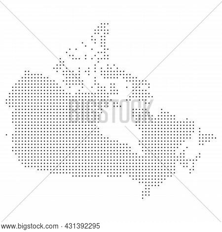 Map Of Canada. Silhouette Of Canada Country Map. Halftone Dots Vector Illustration.