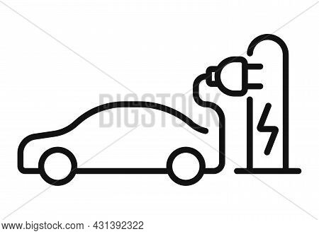Electric Car Icon. Electrical Cable Plug Charging Symbol. Vector Illustration.