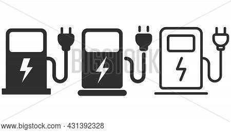 Charging Station For Electric Car Icon. Vector Illustration.