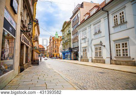 Plzen, Czech Republic - 22.08.2021: Street In Old Town Of Plzen In Czech Republic