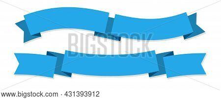 Ribbon Banner. Two Blue Ribbons. Festive Wavy Blank Horizontal Paper Tapes, Empty Satin Decorative P