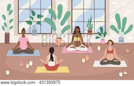 Group Pregnancy Yoga. Future Moms Team Relax In Lotus Pose, Female Meditation, Relaxed Women Charact