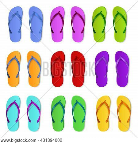 Realistic Color Slippers. Isolated 3d Bright Rubber Sandals, Summer Swimming Pool Flip Flop, Beach A
